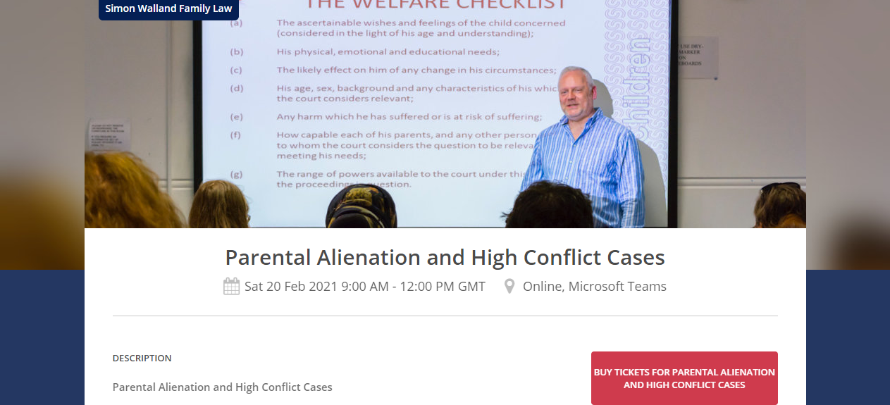 Parental alienation and high conflict course from Simon Walland Family Law