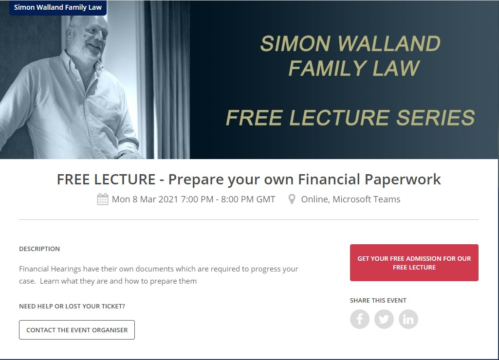 Simon Walland free lecture Prepare your own Financial Paperwork