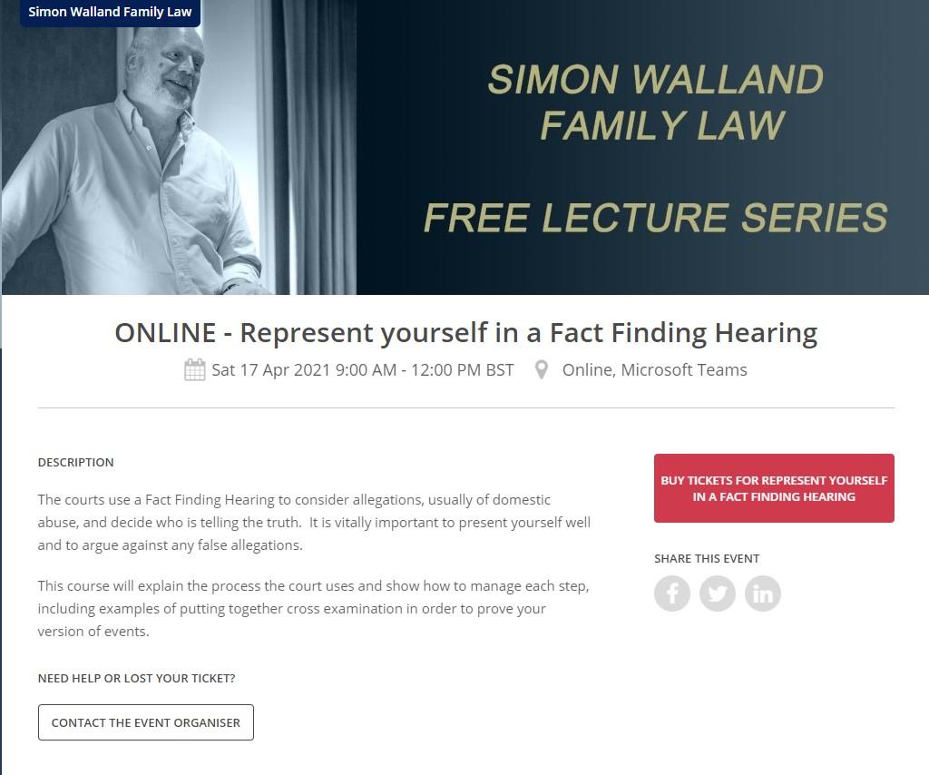 Simon Walland Represent Yourself in a Fact Finding Hearing course